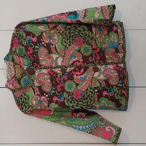 Peck & Peck Weekend Paisley Print Reversible Jacket Size Large Brown Green Pink